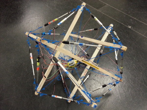 UC Berkeley's Tensegrity Robot Constructed from their rapid prototyping kit (c) Kyunam Kim